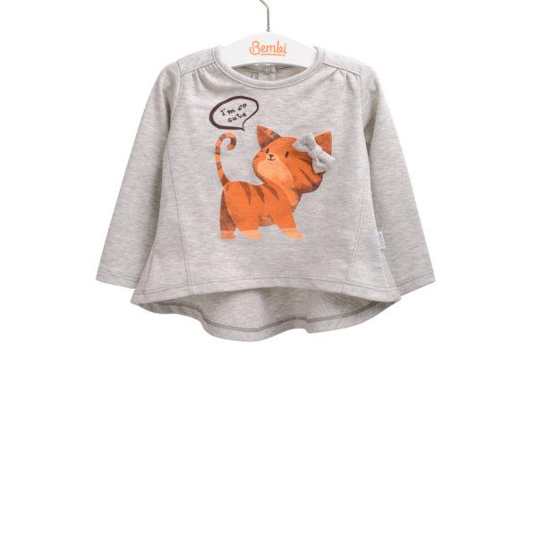 Bawełniana tunika bluzka z długim rękawem dla małej dziewczynki r. 74-92 cm. z kotkiem i kokardką Bembi FB574 kolekcja WIOSNA/JESIEŃ wyprzedaż