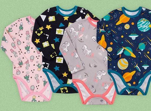 Body niemowlęce bawełniane z długim rękawem 4 modne wzory dla chłopca i dla dziewczynki BD159 kolekcja NEWBORN