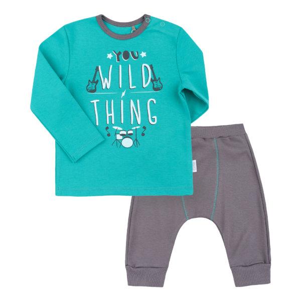 Komplet niemowlęcy dla chłopca 2 części KS574 bluzka + spodenki bawełniany zestaw kolekcja NEWBORN dla niemowląt