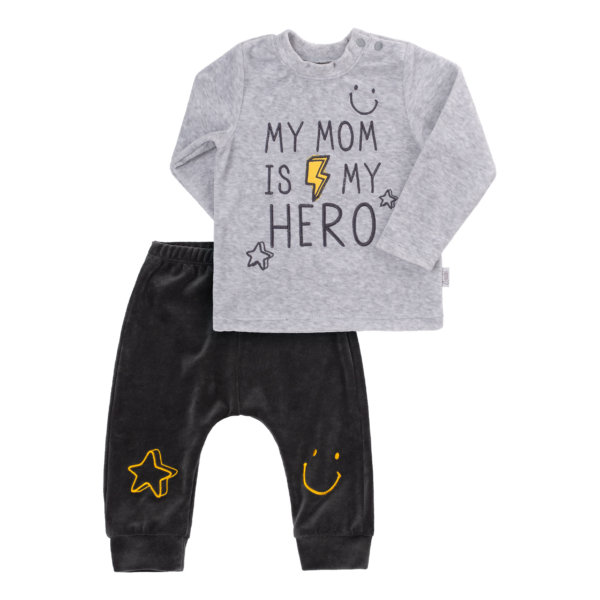 Komplet niemowlęcy dla chłopca 2 części KS610 welurowy kolekcja NEWBORN dla niemowląt