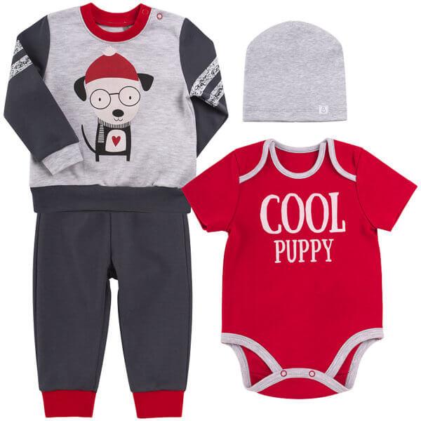 Komplet niemowlęcy dla chłopca 4 części KP204 bawełniany motyw piesek kolekcja NEWBORN dla niemowląt