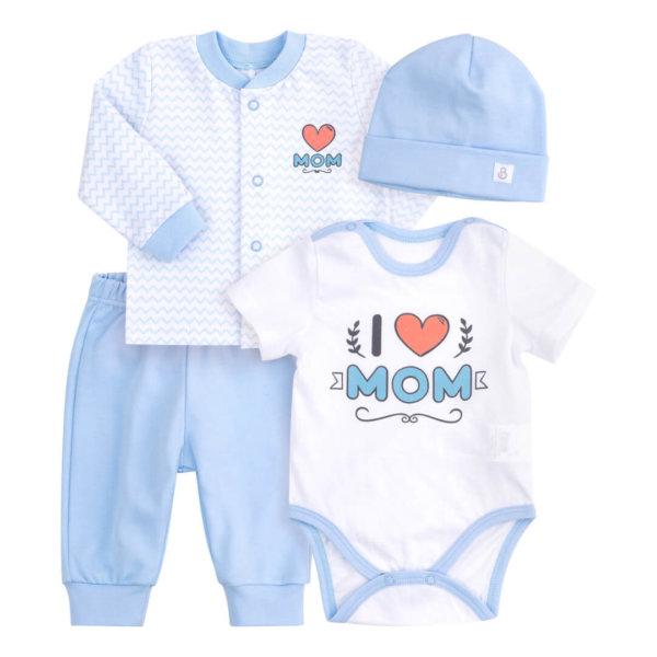 Komplet niemowlęcy Bembi 4 części w opakowaniu podarunkowym KP220 bawełniany kolekcja NEWBORN dla niemowląt