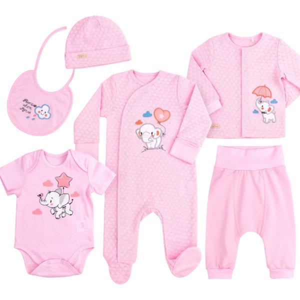 Komplet niemowlęcy wyprawka Bembi 6 części w opakowaniu podarunkowym KP228 bawełniany kolekcja NEWBORN dla niemowląt