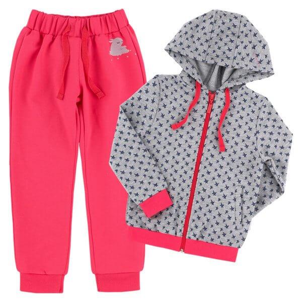 Komplet dresowy dziewczęcy dres dla dziewczynki KS572 szary w gwiazdki na wiosnę jesień kolekcja BASIC