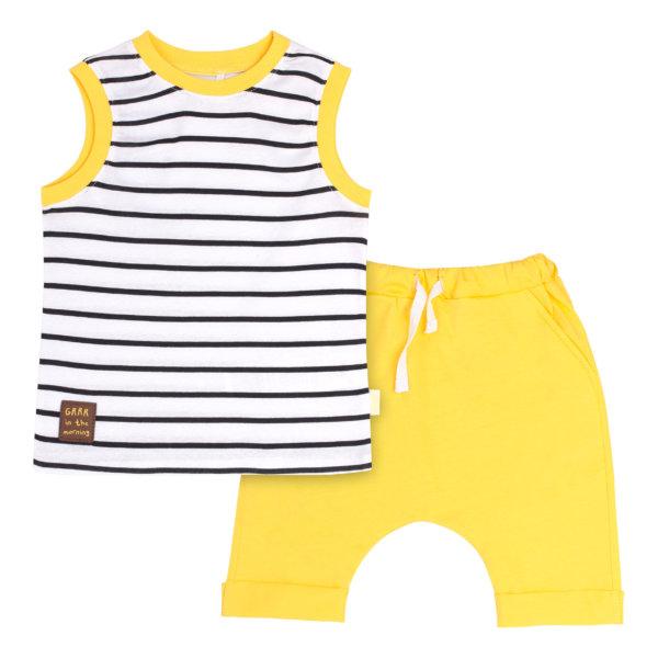 Komplet letni dla chłopca bawełniany top i spodenki biało-czarne paski słoneczny żółty Bembi KS612 kolekcja LATO 2020