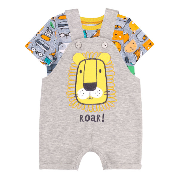Komplet letni niemowlęcy bawełniany Bembi KP233 dla chłopca bluzka i ogrodniczki z motywem lwa kolekcja LATO 2020