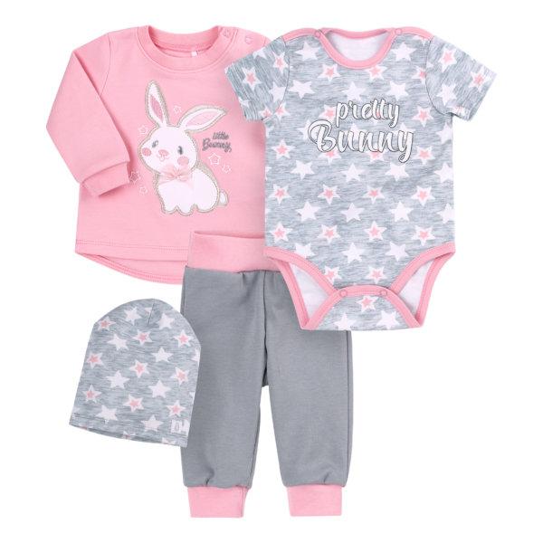 Komplet niemowlęcy wyprawka 4 części dla dziewczynki r.56 Bembi KP223 bawełniany zestaw Pretty Bunny różowo-szary królik gwiazdki  NEWBORN dla niemowląt