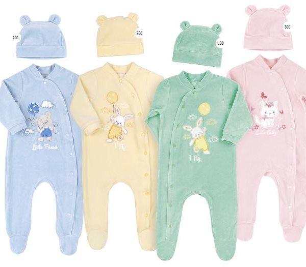 Komplet niemowlęcy 2 części pajacyk + czapeczka welurowy 4 kolory Bembi KP232 kolekcja NEWBORN dla niemowląt