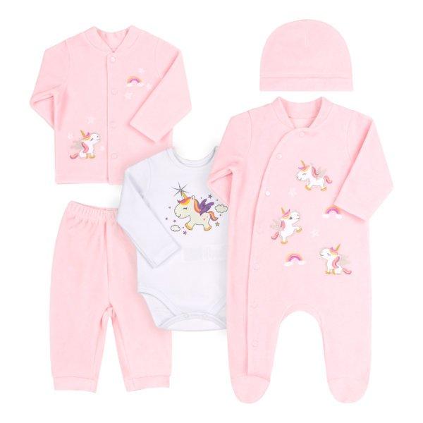 Komplet niemowlęcy wyprawka 5 części w opakowaniu podarunkowym welurowy różowy z unicornem na prezent dla dziewczynki Bembi KP230 kolekcja NEWBORN