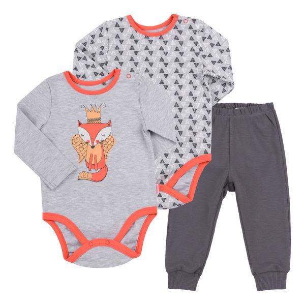 Komplet niemowlęcy 3 części dla dziewczynki Bembi KP200 bawełniany zestaw body z długim rękawem 2 szt plus spodenki 2 wzory pączki lub lisek kolekcja NewBorn dla niemowląt