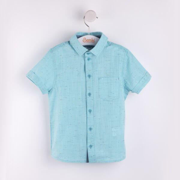 Koszula letnia z krótkim rękawem dla chłopca w r.104-140 cm. lniana turkusowa lub żółta Bembi RB78 kolekcja LATO wyprzedaż