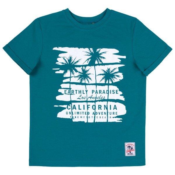 Chłopięcy tshirt z krótkim rękawem bluzka na lato dla chłopca wzór California palmy bawełniana Bembi FB695 kolekcja LATO 2020