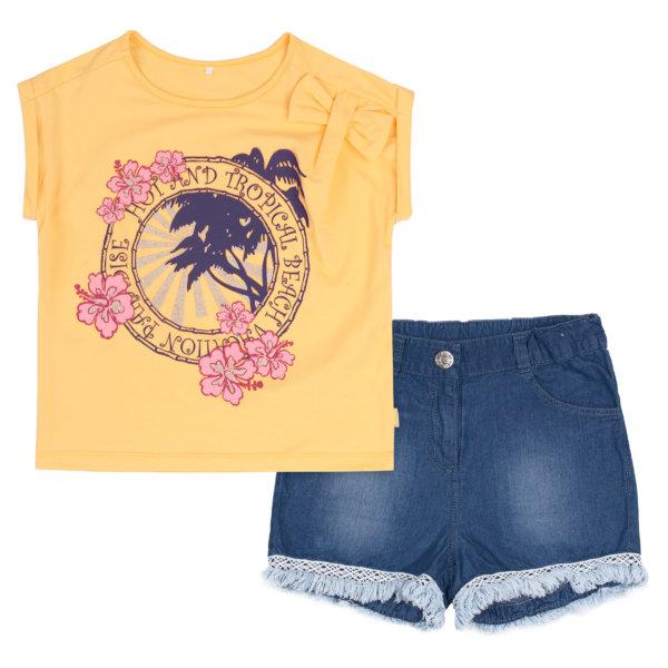 Letni komplet dziewczęcy Bembi dla dziewczynki KS633 modna bluzka z krótkim rękawem bawełniana + spodenki jeans kolekcja LATO 2020