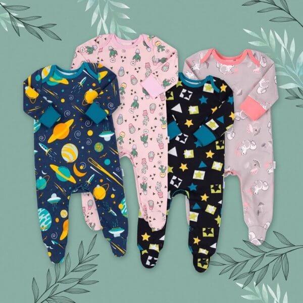 Pajacyk niemowlęcy bawełniany różne wzory: kaktusy, wiewiórki, gwiazdki, kosmos. Bembi KB152 kolekcja NEWBORN dla niemowląt