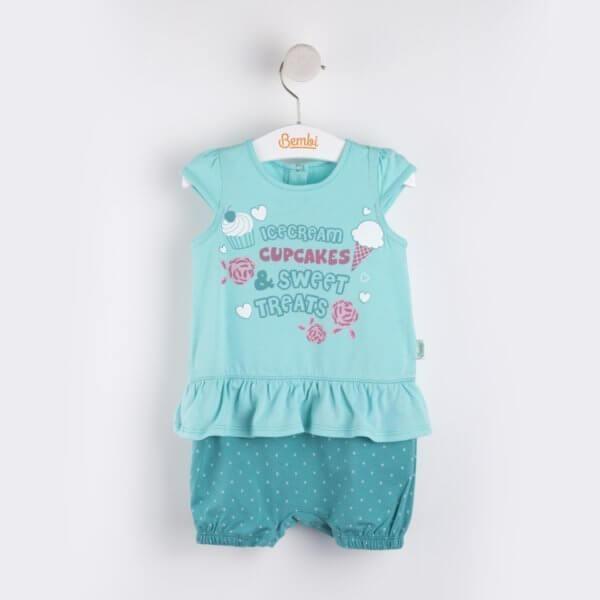 Letni rampers niemowlęcy dla dziewczynki w groszki z falbankami bawełniany dwa kolory do wyboru Bembi PK122 kolekcja LATO wyprzedaż