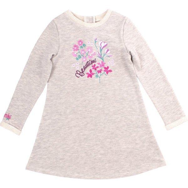 Sukienka dzianinowa z długim rękawem dla dziewczynki szara Bembi PL263 kolekcja całoroczna BASIC