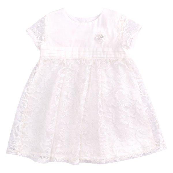 Sukienka okolicznościowa biała na chrzest dla dziewczynki Bembi PL255 kolekcja NEWBORN dla niemowląt