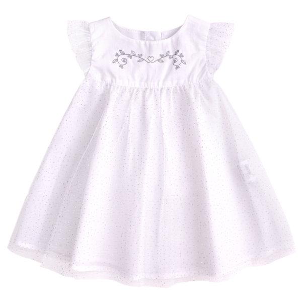 Sukienka okolicznościowa biała na chrzest dla dziewczynki Bembi PL254 kolekcja NEWBORN dla niemowląt