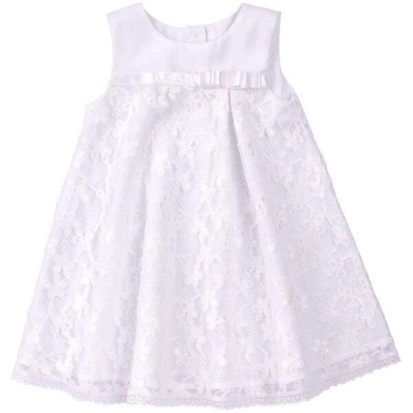 Sukienka okolicznościowa na chrzest dla dziewczynki biała z koronką i kokardką kolekcja NEWBORN dla niemowląt