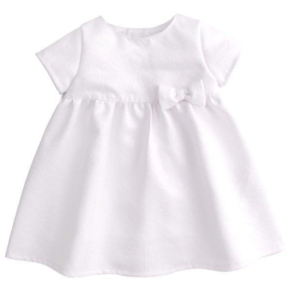 Sukienka okolicznościowa biała delikatna z kokardką na chrzest dla dziewczynki Bembi PL253 kolekcja NEWBORN dla niemowląt