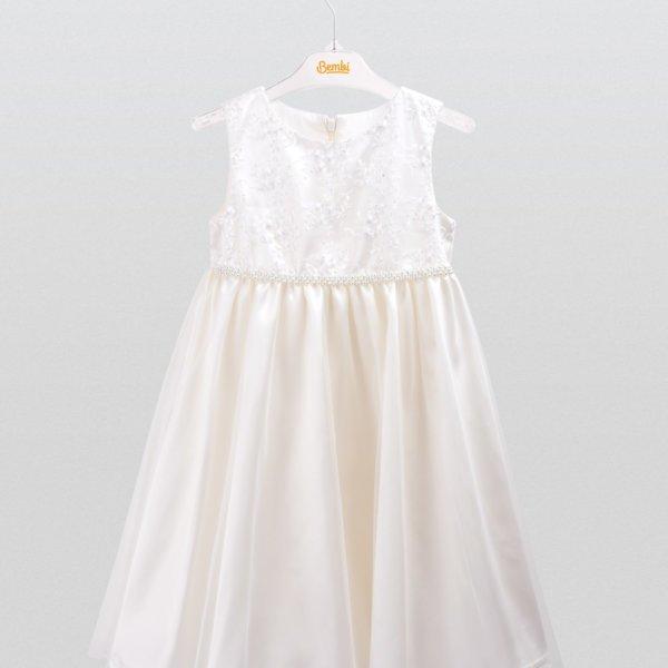 Elegancka sukienka okolicznościowa wizytowa dla dziewczynki atłasowa kremowa Bembi PL160 kolekcja okolicznościowa