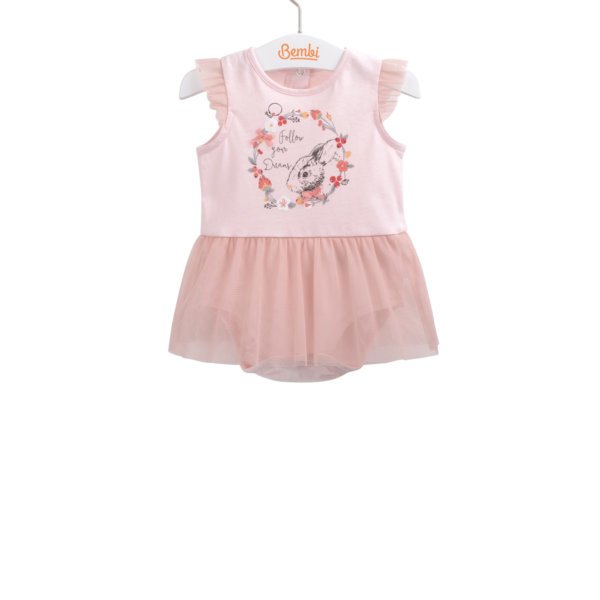 Letnie body ze spódniczką dla dziewczynki r.92 bawełniane różowe z krótkim rękawkiem w falbanki Bembi BD122 kolekcja LATO wyprzedaż