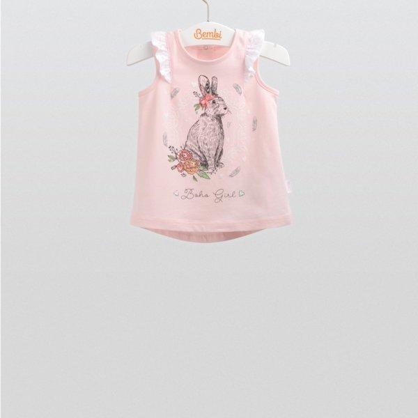 Letni dziewczęcy top bluzka bez rękawów dla małej dziewczynki r.62-92 cm. bawełniana różowa z królikiem falbanki Bembi FB543 kolekcja LATO wyprzedaż