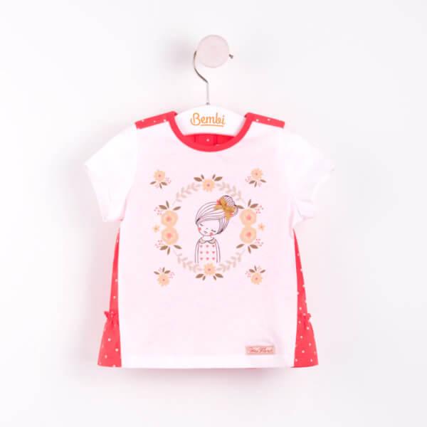 Słodka letnia tunika z krótkim rękawem bawełniana bluzka dla małej dziewczynki w r.68-92 cm. biało czerwona w groszki z falbankami ostatnie sztuki Bembi FB471 kolekcja LATO wyprzedaż