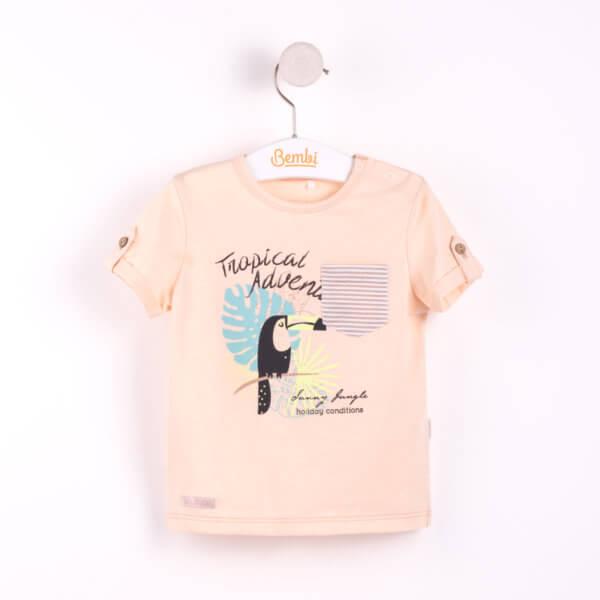 Modny letni T-shirt dla małego chłopca w r.62-74 cm. z krótkim rękawem ostatnie sztuki! bawełniany pastelowy beżowy z kieszonką Bembi FB480 kolekcja LATO wyprzedaż