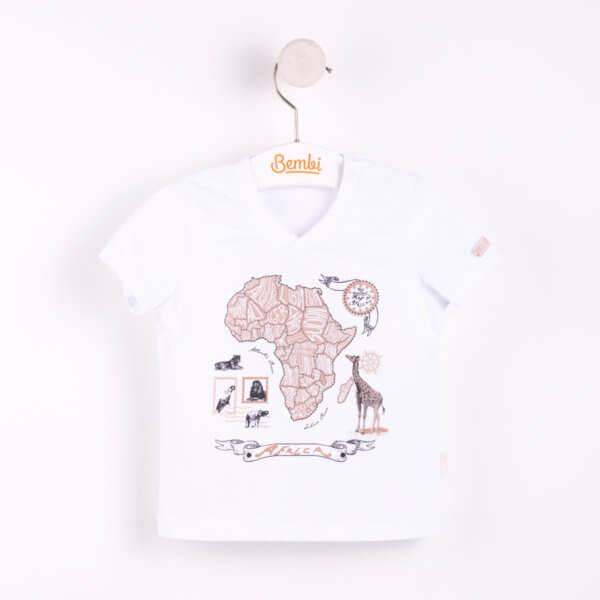 Modny T-shirt chłopięcy bluzka z krótkim rękawem dla małego chłopca r.62-80 cm. bawełniany biały motyw safari ostatnie sztuki! Bembi FB481 kolekcja LATO wyprzedaż