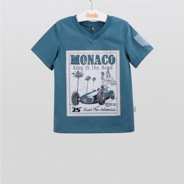 Modny letni T-shirt chłopięcy z krótkim rękawem dla chłopca r.98-116 cm. bawełniany niebieski morski z pastelowym motywem Bembi FB552 kolekcja LATO  wyprzedaż