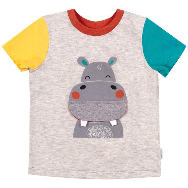 T-shirt dziecięcy Bembi dla chłopca FB693 bawełniany z zabawną aplikacją Happy Hippo kolekcja LATO 2020