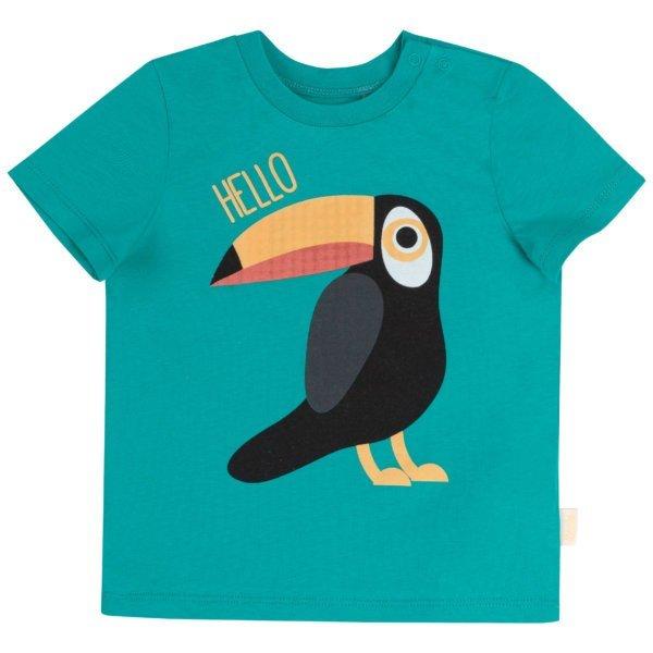 Tshirt dziecięcy z krótkim rękawem na lato bawełniany zwierzęce wzory: żyrafa, tygrys lub tukan kolekcja LATO 2020