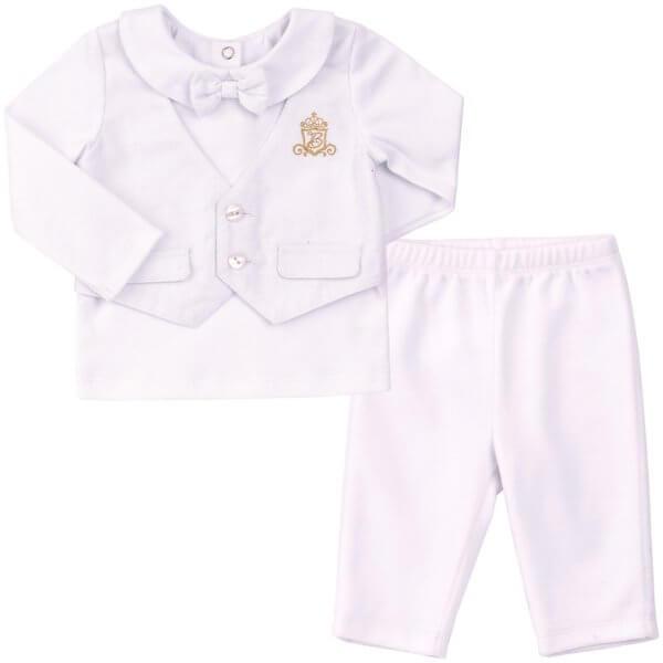 Ubranko okolicznościowe na chrzest dla chłopca r.68 komplet biały bluzka z kamizelką i muchą + spodenki Bembi KS527 kolekcja NEWBORN dla niemowląt