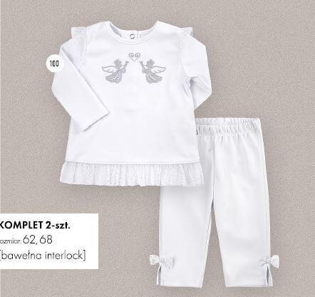 Ubranko okolicznościowe na chrzest dla dziewczynki komplet bawełniany biały tunika + spodenki Bembi KS601 kolekcja NEWBORN dla niemowląt