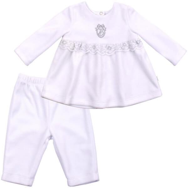 Ubranko okolicznościowe na chrzest dla dziewczynki komplet welurowy biały tunika + spodenki Bembi KS525 kolekcja NEWBORN dla niemowląt