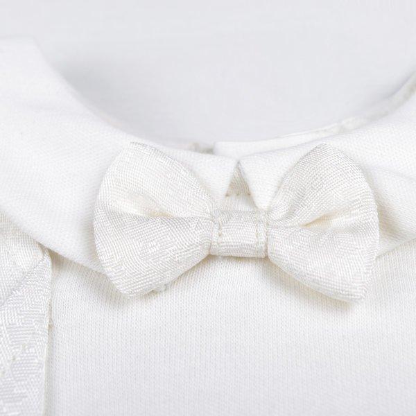 Ubranko okolicznościowe na chrzest pajacyk z muchą dla chłopca biały bawełniany z haftem Bembi KB139 kolekcja NEWBORN dla niemowląt