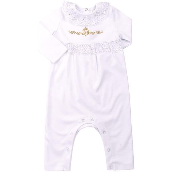 Ubranko okolicznościowe dla dziewczynki na chrzest biały pajacyk bawełniany Bembi KB114 kolekcja NEWBORN dla niemowląt