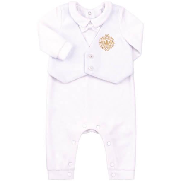 Ubranko okolicznościowe na chrzest pajacyk dla chłopca biały welurowy z haftem Bembi KB112 kolekcja NEWBORN dla niemowląt