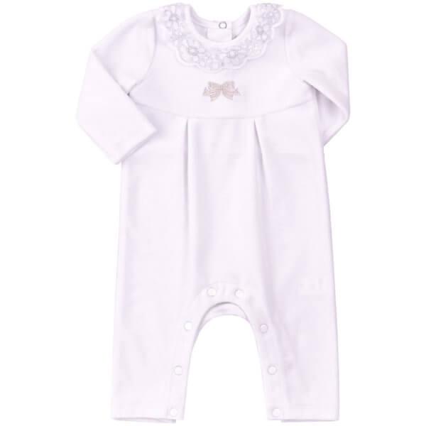 Ubranko okolicznościowe dla dziewczynki na chrzest biały pajacyk welurowy z ozdobnym kołnierzykiem Bembi KB111 kolekcja NEWBORN dla niemowląt