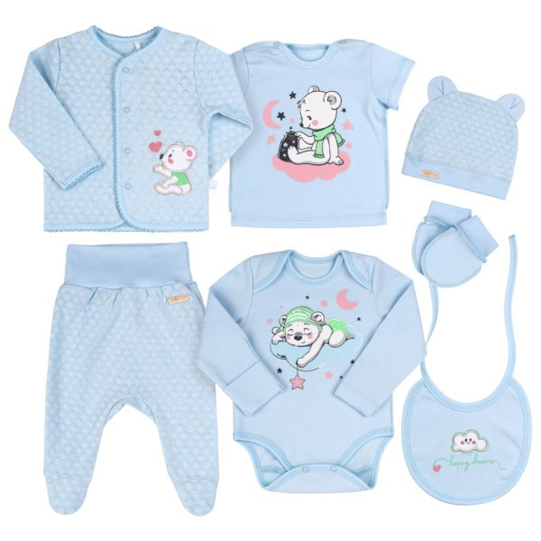 Wyprawka niemowlęca dla noworodka 7 części r.56 bawełniany komplet w opakowaniu podarunkowym Bembi KP229 kolekcja NEWBORN