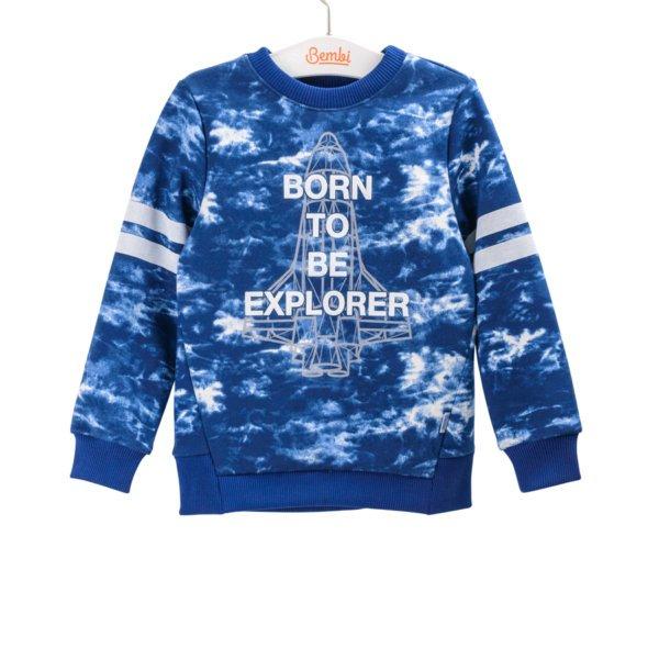 Bluza chłopięca z napisem błękitna z długim rękawem w sportowym stylu dla chłopca w r.98-140 cm. Bembi DJ163 kolekcja WIOSNA/JESIEŃ wyprzedaż