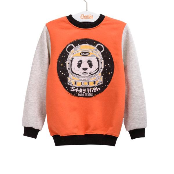 Bluza dziecięca młodzieżowa uniwersalna r. 98-140 cm. dla dziewczynki dla chłopca z motywem pandy w kosmosie Bembi DJ165 kolekcja WIOSNA/JESIEŃ wyprzedaż