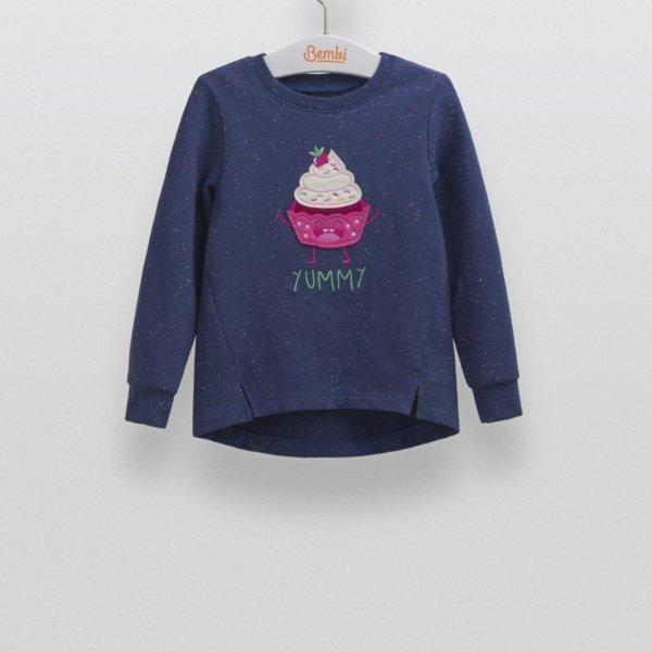 Dziewczęca bluza tunika z długim rękawem z naszywaną aplikacją dla dziewczynki r.98-140 cm. Bembi DJ158 kolekcja WIOSNA/JESIEŃ wyprzedaż