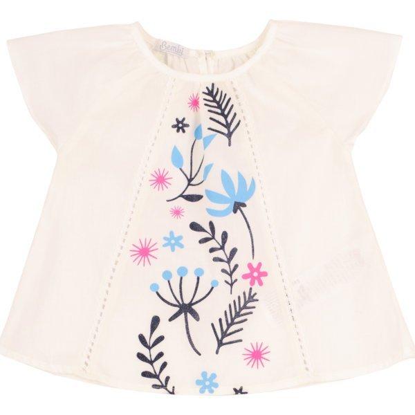 Bluzka koszulowa dziewczęca z krótkim rękawem kwiatki na lato Bembi RB119 kolekcja LATO 2020