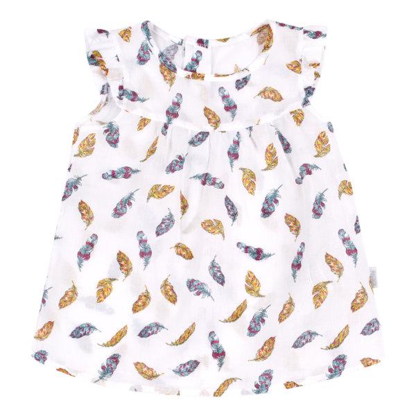 Bluzka koszulowa dziewczęca z krótkim rękawem biała w piórka na lato Bembi RB117 kolekcja LATO 2020