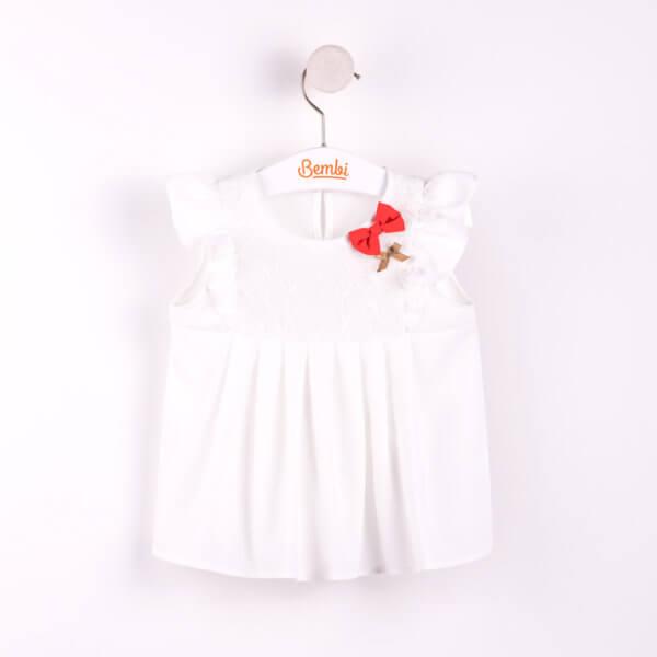 Urocza bluzka tunika letnia dla dziewczynki w r. 98-116 cm. kremowa z kokardkami Bembi RB76 kolekcja LATO wyprzedaż