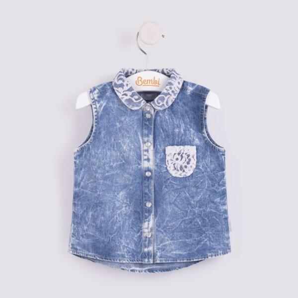 Modna bluzka z kołnierzykiem koszula bez rękawów na lato dla dziewczynki w r.104-140 cm. jeansowa z koronką Bembi RB66 kolekcja LATO wyprzedaż