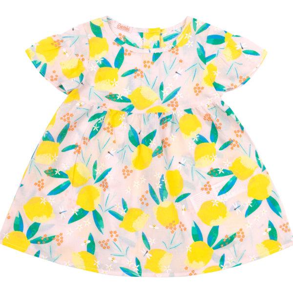 Letnia sukienka dla małej dziewczynki kwiatowy i owocowy wzór Bembi PL272 bawełniana kolekcja LATO 2020