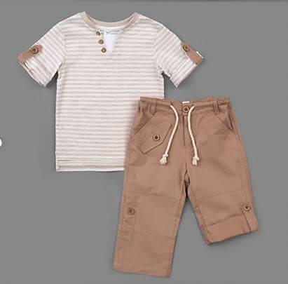 Letni chłopięcy zestaw w r.110-134 cm. bawełniana bluzka w paski i spodenki z rypsu z regulacją beżowy komplet dla chłopca Bembi KS424 kolekcja LATO wyprzedaż